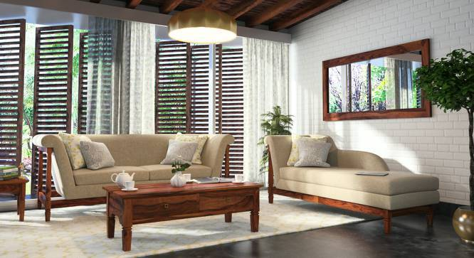 Malabar Chaise (Teak Finish, Right Aligned Chaise (Individual) Custom Set - Sofas, Macadamia Brown) by Urban Ladder