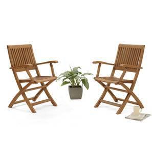 Carrillo Folding Armchair - Set Of 2 (Teak Finish) by Urban Ladder