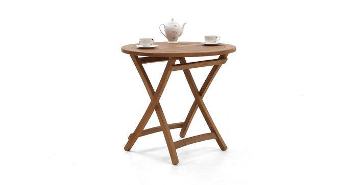 Morro Round Folding Table (Teak Finish) by Urban Ladder