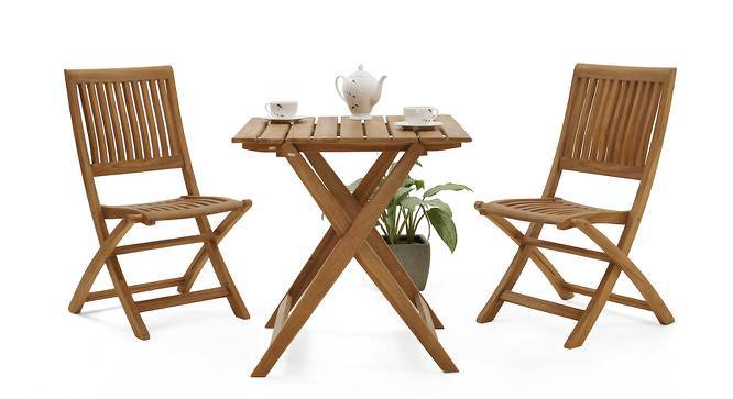 Menton - Carrillo Floding Table and Chair Set (Teak Finish) by Urban Ladder