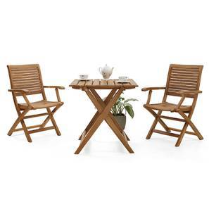 Menton - Perissa Folding Armchair and Table Set (Teak Finish) by Urban Ladder