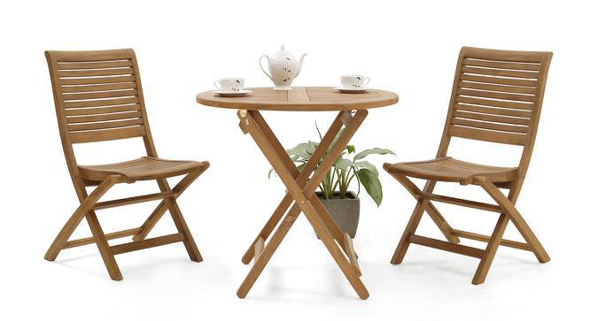 Morro - Perissa Floding Chair and Table Set (Teak Finish) by Urban Ladder