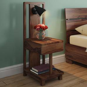 Barrow Bedside Table With Lamp (Teak Finish) by Urban Ladder