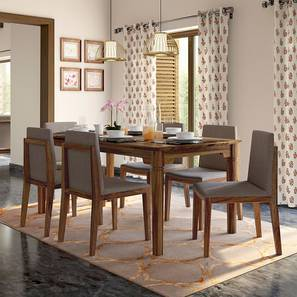 Malabar XL - Galatea  6 Seater Dining Set (Teak Finish, Grey) by Urban Ladder