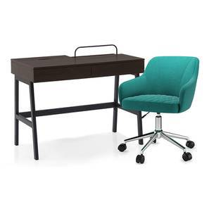 Terry - Ferriss Study Set (Wenge Finish, Aqua) by Urban Ladder