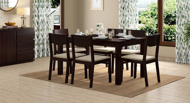 Arabia - Kerry 6 Seater Dining Table Set (Teak Finish, Wheat Brown) by Urban Ladder