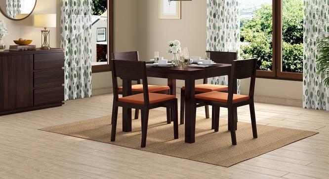 Arabia - Kerry Square 4 Seater Dining Table Set (Mahogany Finish, Burnt Orange) by Urban Ladder