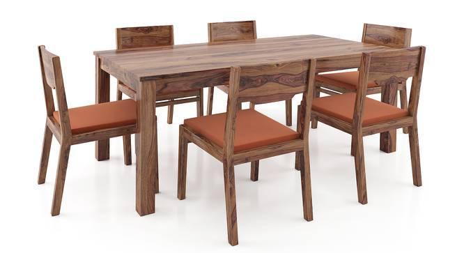 Arabia - Kerry XL 6 Seater Dining Table Set (Teak Finish, Burnt Orange) by Urban Ladder