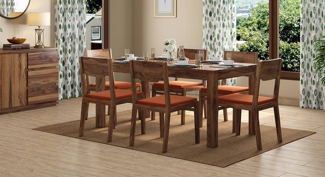 Brighton Large - Kerry 6 Seater Dining Table Set (Teak Finish, Burnt Orange) by Urban Ladder