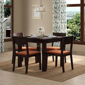 Arabia Storage - Kerry 4 Seater Dining Table Set (Mahogany Finish, Burnt Orange) by Urban Ladder