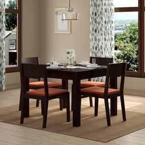 Brighton Square - Kerry 4 Seater Dining Table Set (Mahogany Finish, Burnt Orange) by Urban Ladder