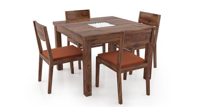 Brighton Square - Kerry 4 Seater Dining Table Set (Teak Finish, Burnt Orange) by Urban Ladder