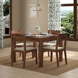 Brighton Square - Kerry 4 Seater Dining Table Set (Teak Finish, Wheat Brown) by Urban Ladder