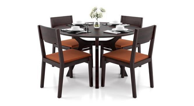 Antilo - Kerry 4 Seater Round Dining Table Set (Teak Finish, Burnt Orange) by Urban Ladder