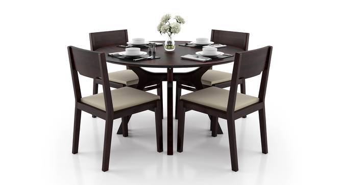 Antilo - Kerry 4 Seater Round Dining Table Set (Mahogany Finish, Wheat Brown) by Urban Ladder