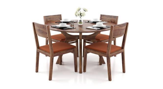 Antilo - Kerry 4 Seater Round Dining Table Set (Mahogany Finish, Burnt Orange) by Urban Ladder