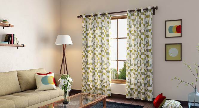 "Colour Block Door Curtains - Set Of 2 (54"" x 108"" Curtain Size, Curves & Lines) by Urban Ladder"