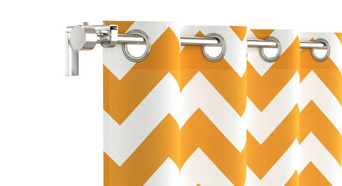 """Chevron Door Curtains - Set Of 2 (Yellow, 54""""x84"""" Curtain Size) by Urban Ladder"""