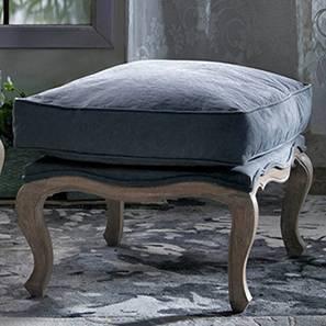 Lyon Ottoman (Grey Fabric, Distressed Wood Finish)