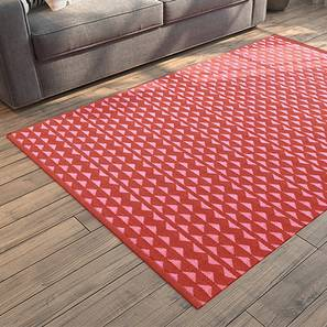 "Viviani Dhurrie (Red, Rectangle Carpet Shape, 36"" x 60"" Carpet Size) by Urban Ladder"