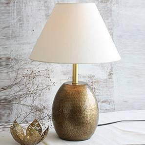 Drachen Table Lamp (Antique Brass Base Finish, White Shade Color, Conical Shade Shape)