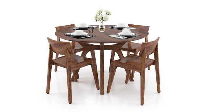 Antilo - Gordon Round 4 Seater Dining Table Set (Teak Finish) by Urban Ladder