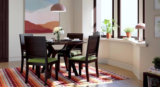 Antilo - Oribi Round 4 Seater Dining Table Set (Mahogany Finish, Olive Green) by Urban Ladder