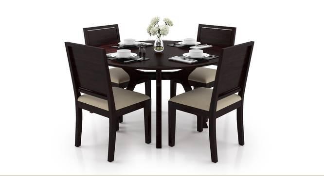 Antilo - Oribi Round 4 Seater Dining Table Set (Mahogany Finish, Wheat Brown) by Urban Ladder