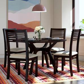 Antilo - Zella Round 4 Seater Dining Table Set (Mahogany Finish, Wheat Brown) by Urban Ladder