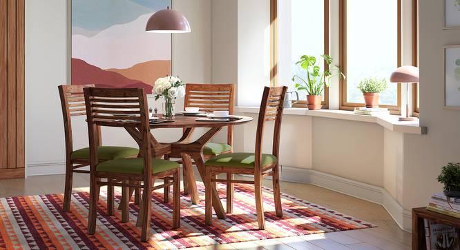 Antilo - Zella Round 4 Seater Dining Table Set (Teak Finish, Avocado Green) by Urban Ladder