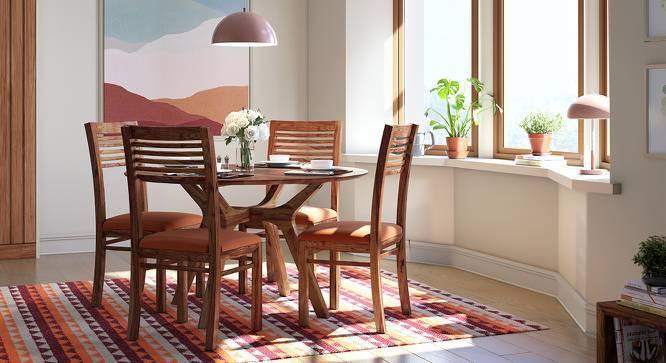 Antilo - Zella Round 4 Seater Dining Table Set (Teak Finish, Burnt Orange) by Urban Ladder