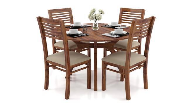 Antilo - Zella Round 4 Seater Dining Table Set (Teak Finish, Wheat Brown) by Urban Ladder