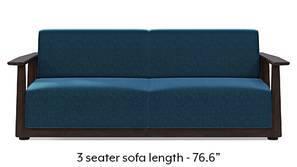 Serra Wooden Sofa - Mahogany Finish (Cobalt Blue)
