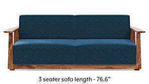 Serra Wooden Sofa - Teak Finish (Cobalt Blue)