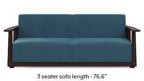 Serra Wooden Sofa - Mahogany Finish (Colonial Blue)