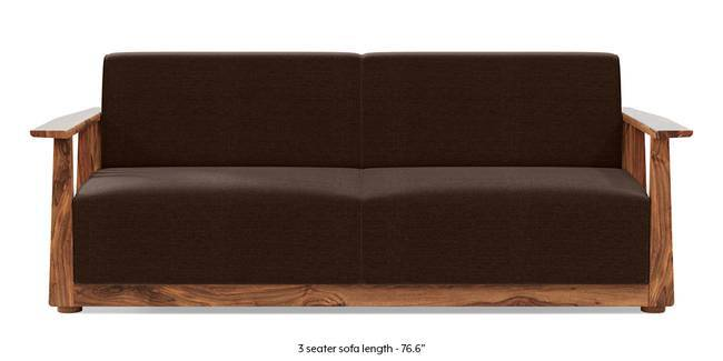 Serra Wooden Sofa - Teak Finish (Dark Earth) (1-seater Custom Set - Sofas, None Standard Set - Sofas, Dark Earth, Fabric Sofa Material, Regular Sofa Size, Soft Cushion Type, Regular Sofa Type)