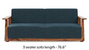 Serra Wooden Sofa - Teak Finish (Indigo Blue)