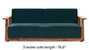 Serra Wooden Sofa - Teak Finish (Malibu Blue)