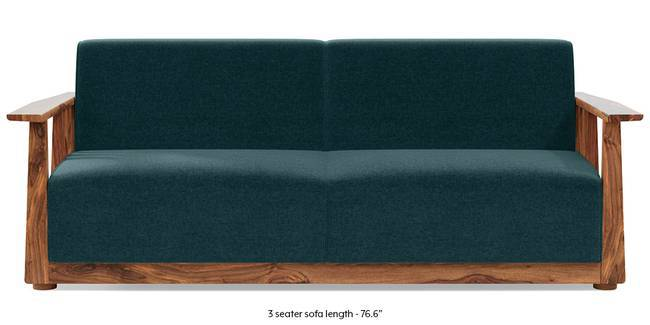 Serra Wooden Sofa - Teak Finish (Malibu Blue) (1-seater Custom Set - Sofas, None Standard Set - Sofas, Fabric Sofa Material, Regular Sofa Size, Malibu, Soft Cushion Type, Regular Sofa Type)