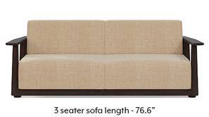 Serra Wooden Sofa - Mahogany Finish (Sandshell Beige)