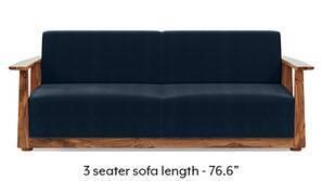 Serra Wooden Sofa - Teak Finish (Sea Port Blue Velvet)