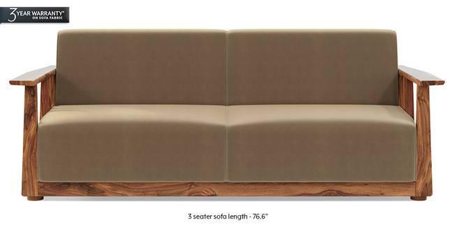 Serra Wooden Sofa - Teak Finish (Tuscan Tan Velvet) (1-seater Custom Set - Sofas, None Standard Set - Sofas, Fabric Sofa Material, Regular Sofa Size, Soft Cushion Type, Regular Sofa Type, Tuscan Tan Velvet)