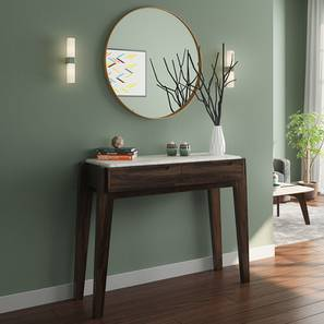 Galatea Marble Console Table (American Walnut Finish) by Urban Ladder