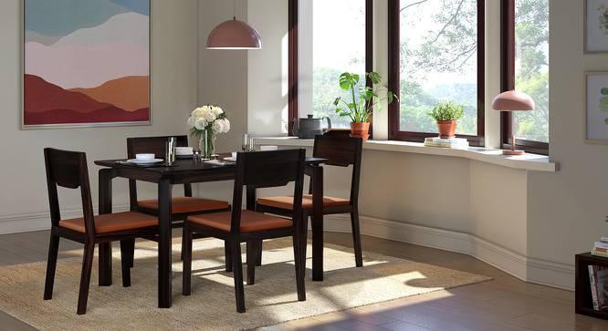 Catria - Kerry 4 Seater Dining Set (Mahogany Finish, Burnt Orange) by Urban Ladder