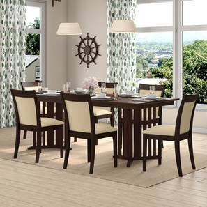 Angus XL - Dalla Dining Table Set (Walnut Finish, Latte) by Urban Ladder