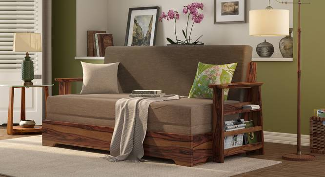 Mahim Sofa Cum Bed (Two Tone Brown, With Storage Arm) by Urban Ladder