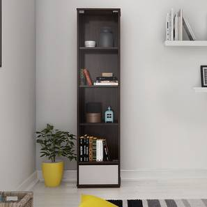 Iwaki Bookshelf With Glass Door (Dark Walnut Finish, 1 Drawer Configuration, 30 Book Book Capacity) by Urban Ladder