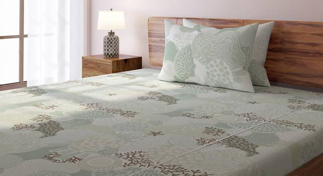 Caribbean Treasure Bedsheet Set (King Size,  Seafoam Green ) by Urban Ladder