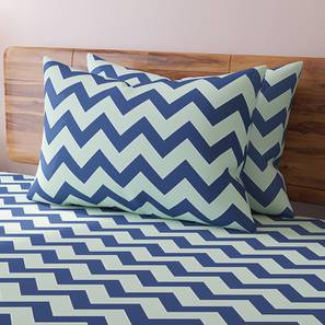 Chevron Bedsheet Set (Blue, King Size) by Urban Ladder