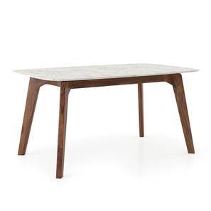 Galatea 4 Seater Marble Dining Table (Teak Finish) by Urban Ladder
